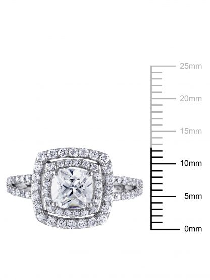 Miabella Women's 3 Carat T.G.W. Cushion and Round-Cut Cubic Zirconia Sterling Silver Double-Halo Engagement Ring
