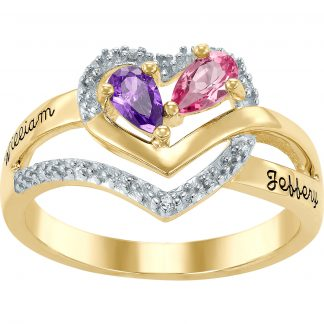 Personalized Family Jewelry Birthstone Women's Beacon Mother's Ring available in Sterling Silver, 10k Gold and 14k Gold