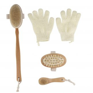 4-Pack Dry Brushing Body Brush Kit, Natural Bristle Wooden Bath Shower Back Scrubber, Face Skin Cleansing Exfoliator, Anti-cellulite Spa Massager and Exfoliating Gloves by Juvale