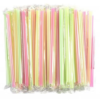 100-Pack Jumbo Drinking Straws - Large Plastic Extra Wide Fat Boba Straws - Perfect for Smoothies & Milkshakes, BPA Free Colorful Straws, Half-Inch Opening, Individually Wrapped, 10 x 0.5 inches
