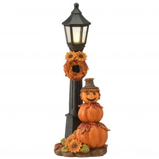 """13.75"""" Orange LED Lighted Thanksgiving Pumpkin Scarecrow and Lamppost Tabletop Decor"""