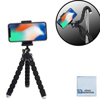 """Acuvar 6.5"""" inch Flexible Tripod With Universal Mount for All iPhones, Samsung Phones and Many More & an eCostConnection Microfiber Cloth"""
