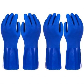 2 Pack Dishwashing Gloves – Reusable Kitchen Household Rubber Gloves for Cleaning Dish Washing - Blue, Large L Size