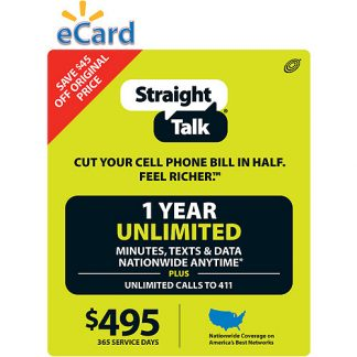 (Email Delivery) Straight Talk 12-Month Unlimited, Talk, Text and Data