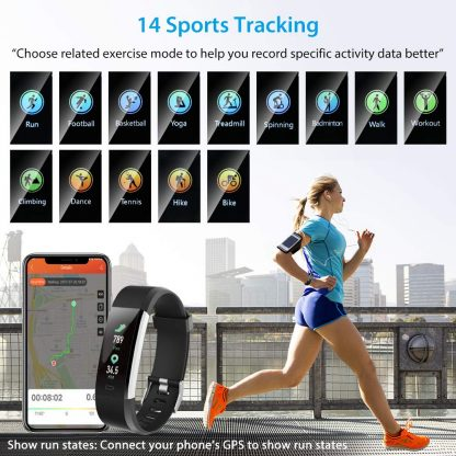 Alexa & Katie Fitness Tracker HR, Fitness tracker with Blood Pressure Monitor, Smart Fitness Band with Step Counter, Calorie Counter, Pedometer Watch for Women and Men (Black)