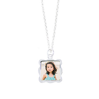 Sterling Silver Plated Wave Photo Necklace