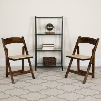 2 Pack White Wood Folding Chair with Vinyl Padded Seat