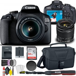 Canon EOS 2000D / Rebel T7 DSLR Camera with 18-55mm Lens + Creative Filter Set, EOS Camera Bag + Sandisk Ultra 64GB Card + 6AVE Electronics Cleaning Set, And More (International Model)