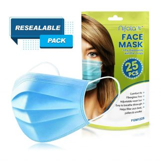 25 CT Disposable Ear loop Nose Clip Face Mask Blue 3 Ply Non-Woven Soft Fabric & Comfortable Outdoor Cover Guard Protection Breathable to Dust, Pollution, Fluids with Reusable Bag Package By Nifola