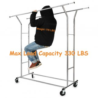 330 lbs Commercial Clothing Garment Rack Heavy Duty Rolling Clothes Rack on Wheels Double Adjustable Collapsible, Chrome Finish