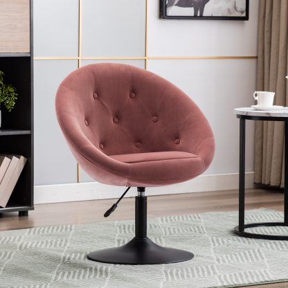 Duhome Elegant Lifestyle Modern Accent Chair Round Velvet Tufted Swivel with Adjustable Height Pink 1 Pcs