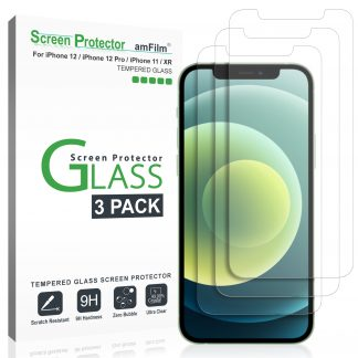 amFilm (3 Pack) Glass Screen Protector for iPhone 12, iPhone 12 Pro, iPhone 11, and iPhone XR (10R) - Case Friendly (Easy Install) Tempered Glass Film (6.1 Inch)