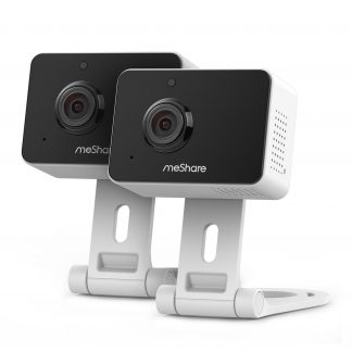 meShare 1080p Mini Wireless Two-way Audio Camera 2-Pack with Free 1-Month Cloud Service Plan and Cloud AI Security-Works with Google Assistant